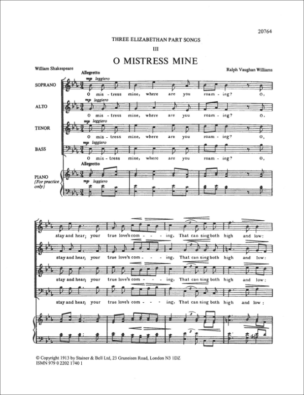 Vaughan Williams, Ralph: O Mistress Mine. SATB