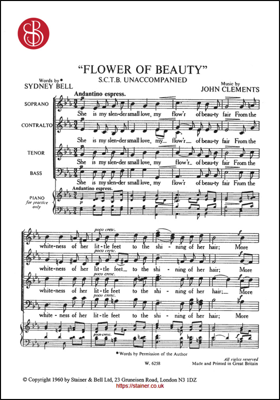 Clements, John: Flower Of Beauty. SATB