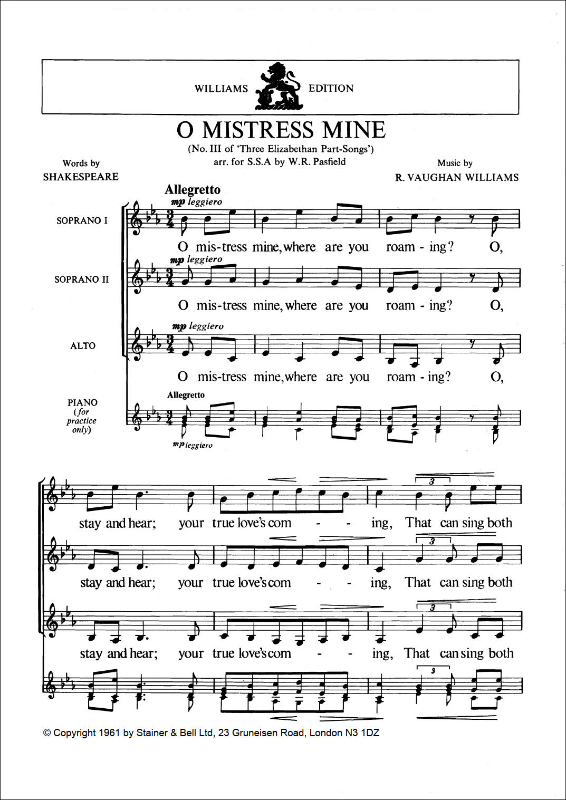 Vaughan Williams, Ralph: O Mistress Mine. Arr. SSA