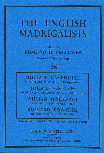Madrigals By Michael Cavendish, Thomas Greaves, William Holborne And Richard Edwards