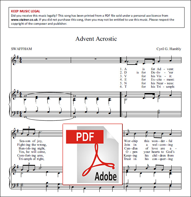 Hambly, Cyril G: Advent Acrostic. Unison & Piano. PDF Version