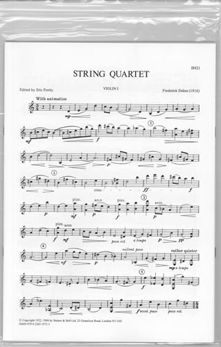 Delius, Frederick: String Quartet (1916). Set Of Parts