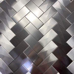 2.5 X 6 Herringbone With 3d Prism Stainless Steel Tile Project S5