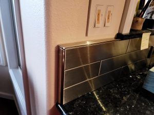 2.5x12 Stainless Steel Tile Backsplash Hawi Hawaii Project S5