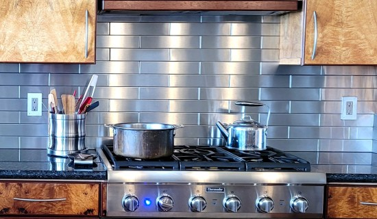 2.5x12 Stainless Steel Tile Backsplash Hawi Hawaii Project S5 4