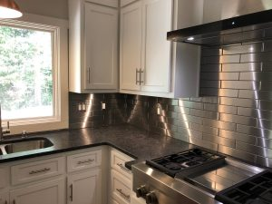 2.5x12 Stainless Steel Tile Backsplash Project S2