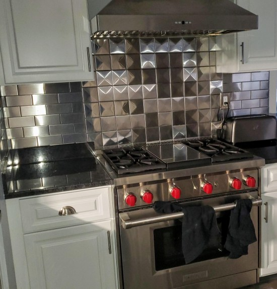 4x4 3d Stainless Steel Backsplash Project J15 2