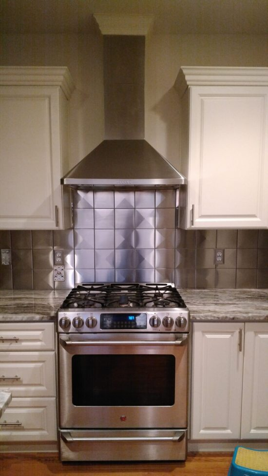 6x6 Stainless Steel Tile Backsplash Project H14