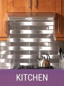 Stainless Steel Kitchen Backsplash installation by Family Handyman using Handcrafted Metal Tiles from US Manufacturer, StainlessSteelTile.com