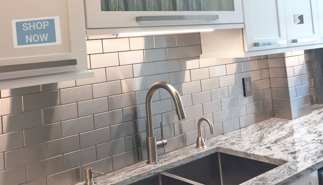 Stainless Steel Backsplash with US-Made, Handcrafted Metal Tiles