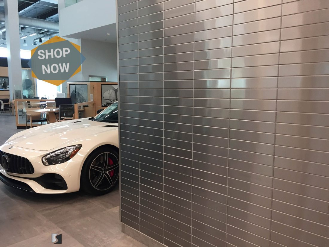 Stainless Steel Wall Tiles Installed at New Mercedes Benz Dealership