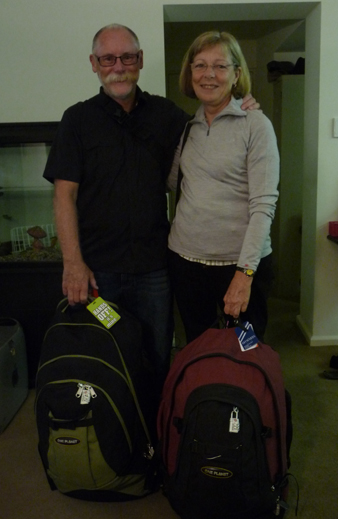 Bruce & Thea with luggage to last a year