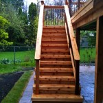Wooden staircase to the veranda