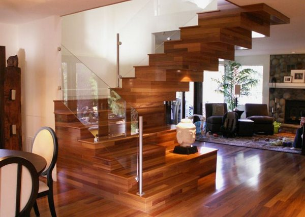 Wooden hi tech staircase