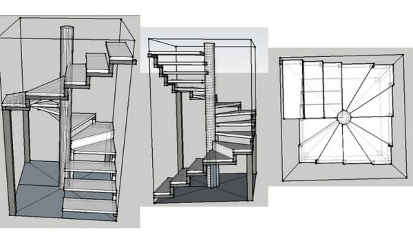 Varieties of models of spiral staircases