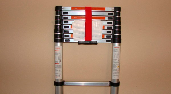 A folded telescopic ladder is very easy to transport