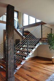 contemporary wood railings