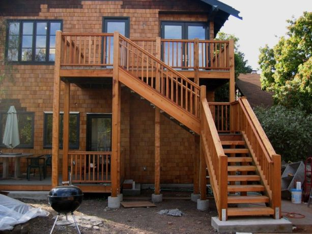 external wooden staircase