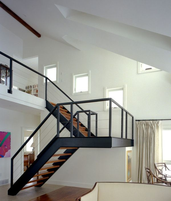 metal stair design with landing