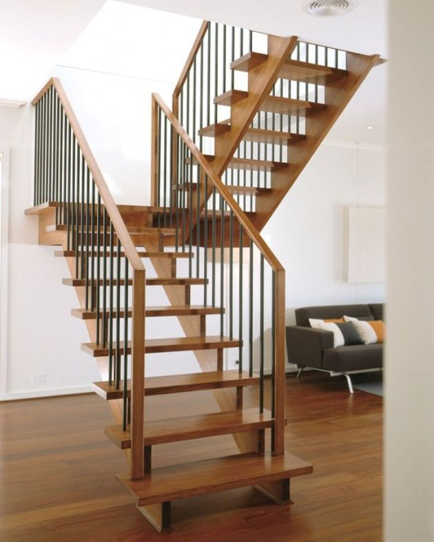 open tread wood stairs