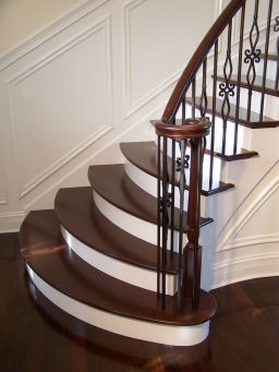 wooden staircase landing