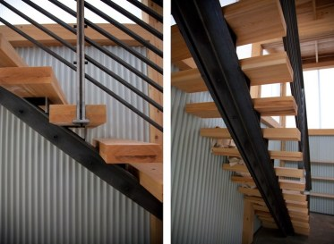Span on the metal stairs