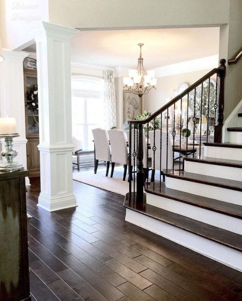 dark hand scraped floors white wood stairs ideas_59