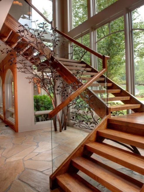 images interior design of wooden stairs_5