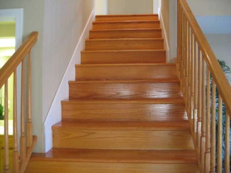 pictures of wooden stairs trimmed in white_2