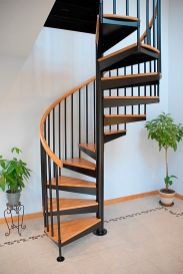 wooden stairs design in a circle frame_22