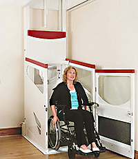 Woman operating a wheelchair elevator