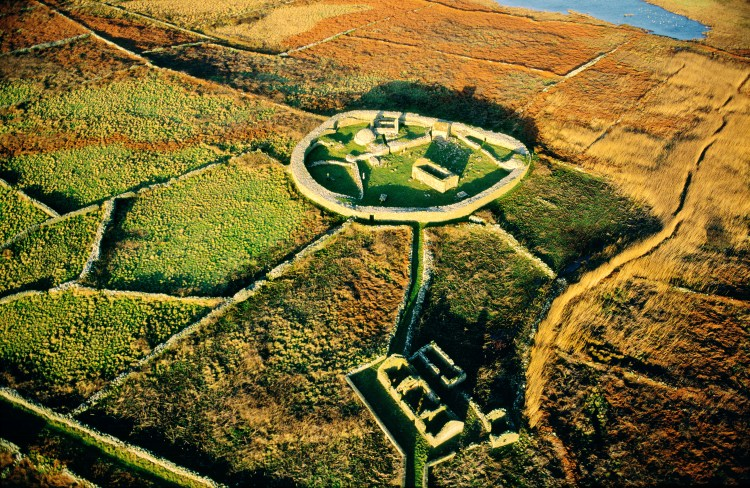 Inishmurray island, County Sligo, Ireland. Early Celtic Christian ring fort cashel monastic settlement and fisherman's cottage.