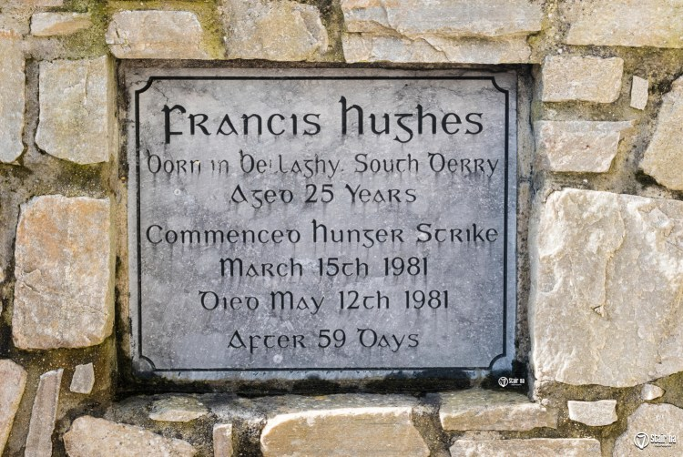 Memorial plaque in a garden of remembrance for the 1981 Irish Republican hunger striker Francis Hughes