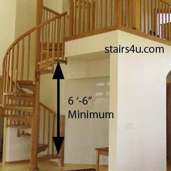 Spiral Stairway Minimum Headroom Clearance | 6 Foot Spiral Staircase | Tread Depth | Stair Kit | Metal | Building Code | Hayden Gray
