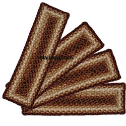 Amish Braided Stair Treads   Braided Stair Treads With Rubber Backing   Anti Slip   Slip Resistant   Skid Resistant   Oval   Rugs
