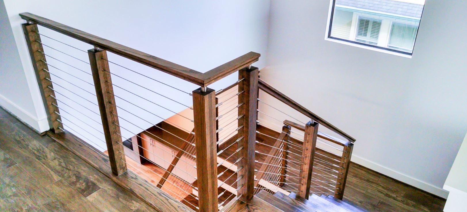 Modern Railing Systems In Wood Cable Wire Stainless Steel Glass   Modern Wood Stair Railing   Wrought Iron   Staircase Railing   Modern Style   Deck   Horizontal Bar