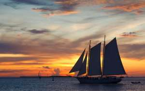 sailboat at sunset in key west, florida