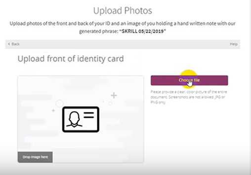 Click on Choose File to upload the front side of ID Card