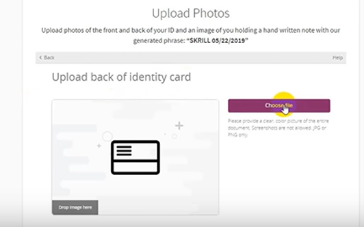 The back of ID card Uploading option