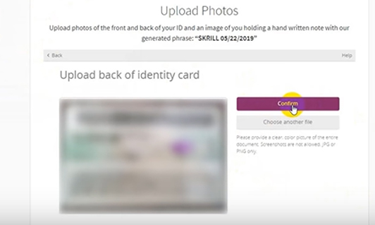 Upload the back of ID card