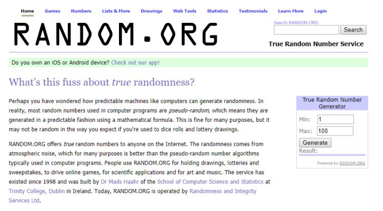 โปรแกรมสูตร Random.org - สูตรการเล่น รูเล็ต