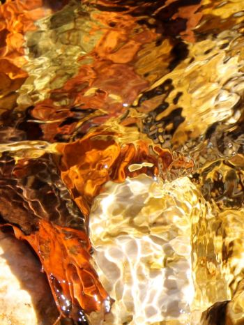 Molten glass? Autumn leaves in the stream...