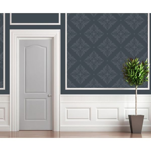 Grey 2 Panel Arch Top Moulded interior door with white wainscotting and blue wallpaper
