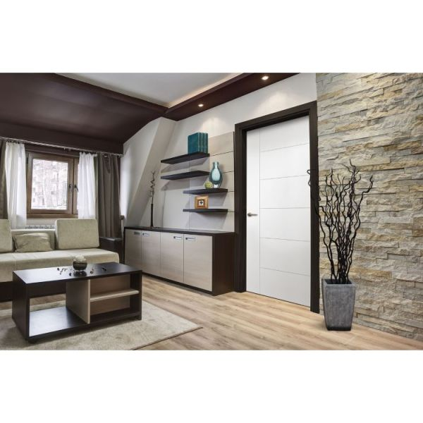 Berkley moulded interior door in living room with stone wall and dark wood accents