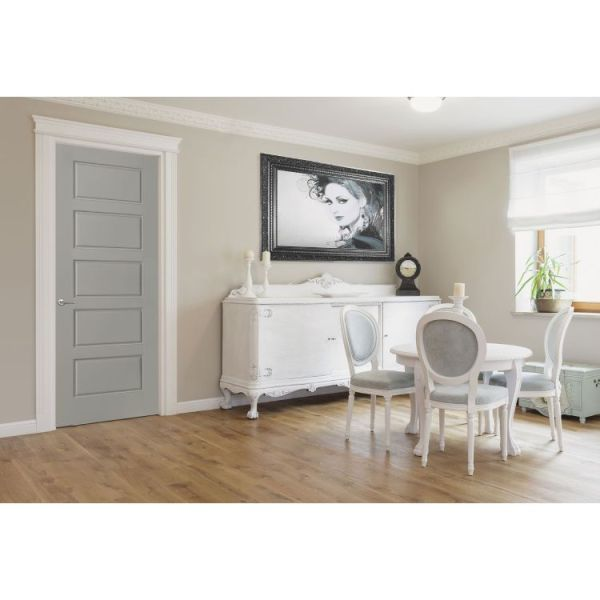 Grey riverside 5 panel moulded interior door in bright dining area with small white table and chairs