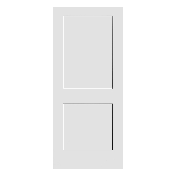 white primed 2 panel shaker door product photo