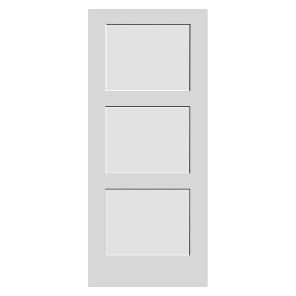 white primed 3 panel shaker door product photo