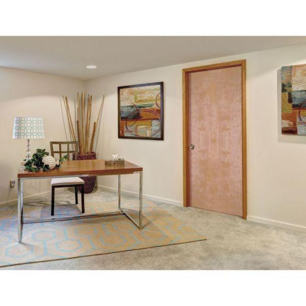 birch veneer flush interior door in beige office