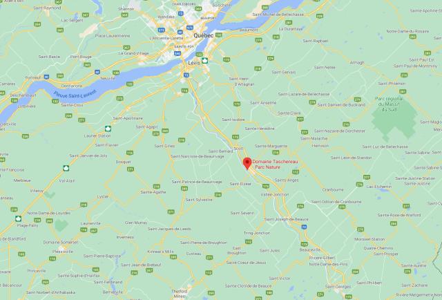 localisation du domaine Taschereau, en Beauce au Québec