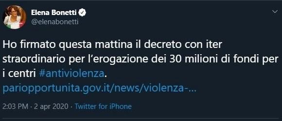 Ministro Bonetti, a che servono i centri antiviolenza?